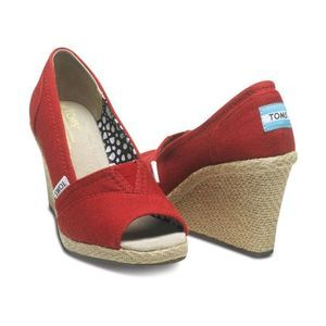 Toms Red Canvas Peep Toe Espadrille Wedges - 7.5